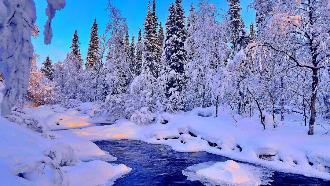 river,snow,winter,речка,the