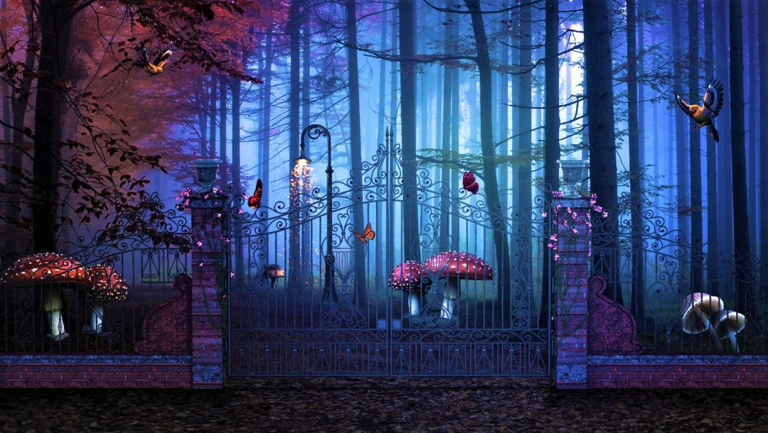 Грибы,ворота,Magical Gate To Artistic Forest