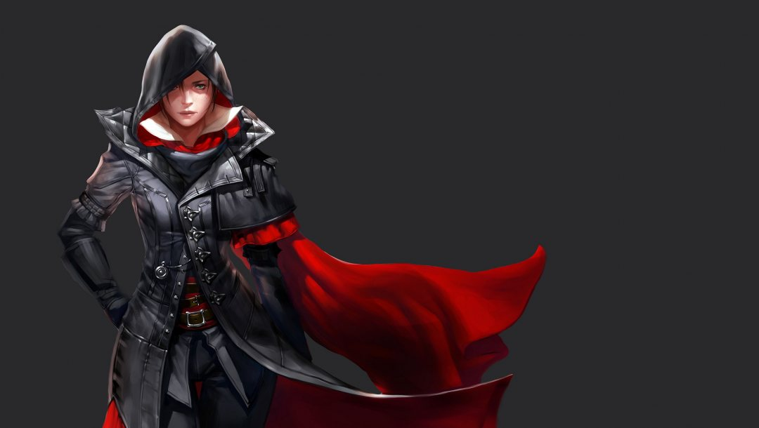 game,Assassin's Creed,Face,fantasy,simple background,freckles,looking at viewer,hoods,Assassin's Creed Syndicate,digital art,green eyes,girl,fantasy art,evie frye,artwork,cape