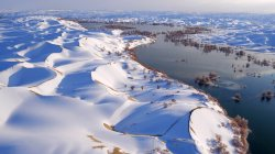 snow,snowy landscape,winter,landscape,sky,water,china,river,nature,dunes,trees