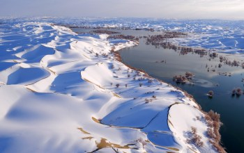snow,snowy landscape,winter,landscape,sky,water,china,river,dunes,trees