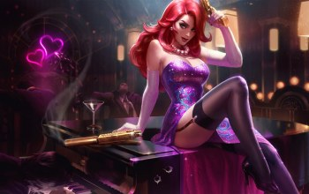 платье,splash,league of legends,Секретный,redhead,Miss fortune,пистолет,чулки,Мисс Фортуна,агент,рояль,Secret Agent,Лига Легенд,artwork