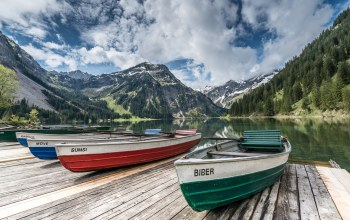 mountains,the,boats,clouds,лодки,sky,Облака