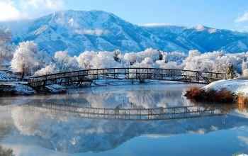 winter,mountain,the,Зимняя природа,river,bridge,речка