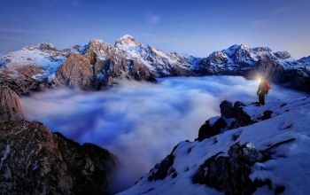 top,fog,snow,туман,mountains,вершины,the