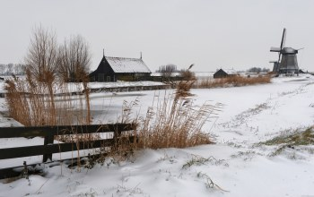 fence,the,забор,mill,деревня,snow,мельница,village,winter,house