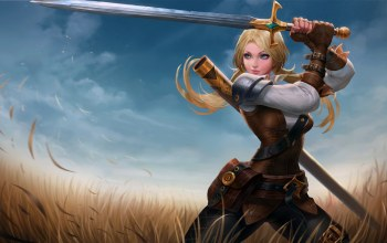 weapon,fantasy,fantasy art,blonde,field,artwork,blue eyes,sword,digital art,girl