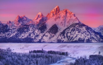 snow,winter,Sunset,mountains