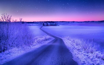 Road,evening,winter