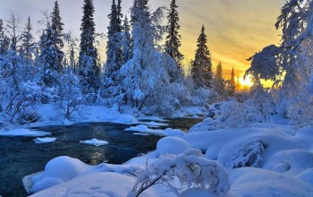 snow,winter,the,Sunset,river,речка