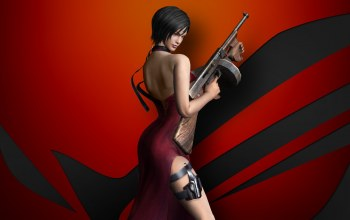 weapon,spy,Resident Evil 4,waifu,game,dress,Biohazard 4,gun,pose,Ada wong,Rog,brunette,Residen Evil,thigh,chinese,asian