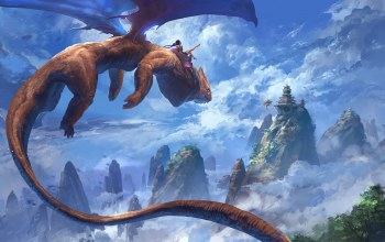 artwork,wings,dragon,sky,digital art,Thomas Chamberlain - Keen,clouds,girl,painting,flying,mountains,peaks,fantasy art,fantasy