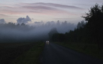 morning,dawn,fog,car,foggy,misty,woodland,sunrise,Road,mist