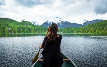 mood,forest,snowy peaks,peaks,house,girl,trees,snow,peace,mountains,clouds,landscape,loneliness,scull,boat,Tranquility,sky