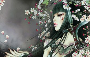 tattoos,asian girl,sword,fantasy art,lips,brunette,Face,digital art,mouth,peach blossom,Butterfly,blue eyes,weapon,artwork,piercing lip,girl,piercing,fantasy,japanese girl