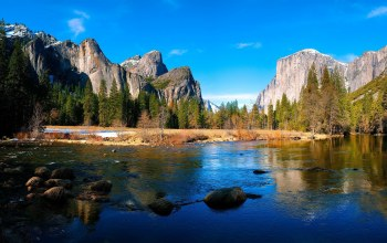 valey,Yosemite,river,mountain