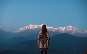 girl,dusk,Twilight,contemplation,mountains