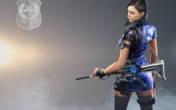 dress,asian,coat,sugoi,J.N.S. logo,charger,shield,camouflage,insignia,asiatic,chinese,rifle,blue,Orchid,beautuful,brunette,girl,woman,pantyhose,assault riflem,thigh,Crossfire,Crossfire Online