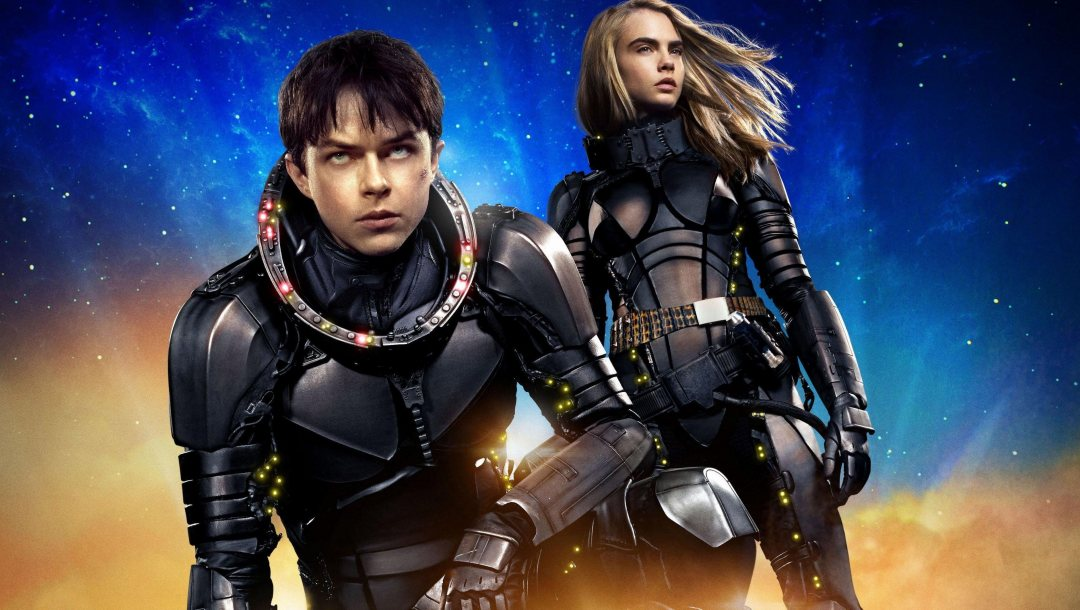 Valérian and Laureline,cara delevingne,Valerian And The City Of A Thousand Planets,blonde,Dane dehaan,Face,cinema,girl,scar,movie,Laureline,suit,film,Valérian and the City of ten thousand planets