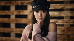 lips,girl,looking at camera,straight hair,long hair,bare shoulder,brunette,Face,mouth,photo,brown eyes,sweater,depth of field,model,portrait,Hat,close up,looking at viewer