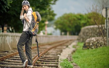 girl,rails,Рельсы,Backpack,рюкзак
