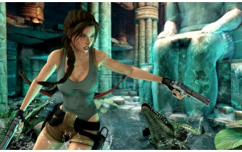 lara croft,Крокодил,пистолет,tomb raider