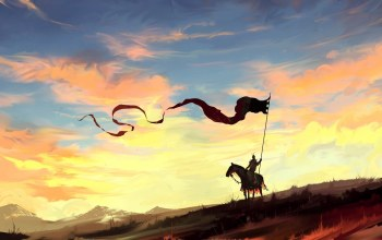 horse,dragon,landscape,fantasy art,spear,countryside,fantasy,banner,digital art,painting,clouds,knight,sky,artwork