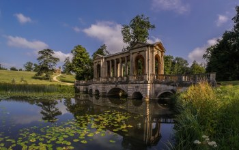 ручей,palladian bridge,Бакингемшир,беседка,Stowe Park