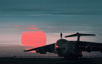 painting art,Il-76,painting,Twilight,Birds,landscape,artwork,silhouette,aviation,aenami,Sunset,people,Airplane,sky,digital art,Ilyushin Il-76,Red,illustration