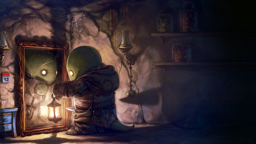 Knife,cobwebs,digital art,jars,mirror,cat,tonberry,artwork,final fantasy,lantern,fantasy art,bedside table,Lamp,broken mirror,fantasy,game