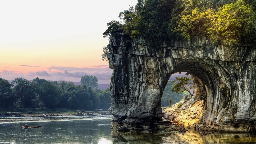 landscape,china,Tunnel,vegetation,clouds,boat,arch,rock,water,sky,trees,Fisherman