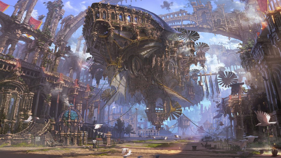 Birds,street,fantasy art,buildings,futuristic,ropes,steampunk,painting,fantasy,ruins,streetlight,people,steampunk airship,Airship,artwork