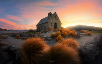 sunrise,church,Tekapo