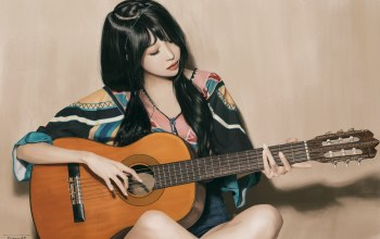 sitting,girl,Гитара,beauty,рисунок,look,азиатка,играет,asian,Playing the guitar,woman,brunette,guitar,black hair