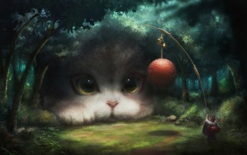fantasy art,artwork,game,digital art,clear,Animal,situation,Mustache,fantasy,eyes,lillipuzian,girl,forest,Ball,muzzle,cat,kimono,feline
