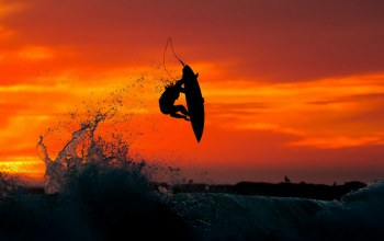 Surfing,Sunset,extreme