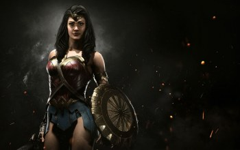 dc comics,wonder woman,crown,Themyscira,game,Injustice 2,special equipment,shield,spark,fire,sword,gauntlet,armor,flame,film equipment,strong,blade,brunette