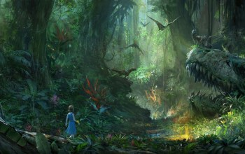 jungle,forest,trees,artwork,child,Pterodactyls,Dinosaurs,flying,illustration,girl,digital art,t-rex,Plants,wood,light,Skull,fantasy,fantasy art