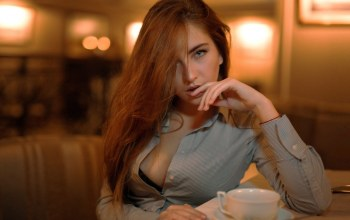 boobs,open shirt,mouth,brown,long hair,open mouth,photo,sensual girl,cup,looking at viewer,bra,blue eyes,close up,tits,sensual,finger on lips,sensual gaze,Face,lips,Cleavage,looking at camera,bokeh,shirt,portrait,girl