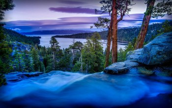 forest,united states of america,Sunset,long exposure,waterfall,pines,california,trees,water,rocks,sky,mountains,landscape,Lake tahoe,river,evening,Twilight,park,emerald bay state park,clouds