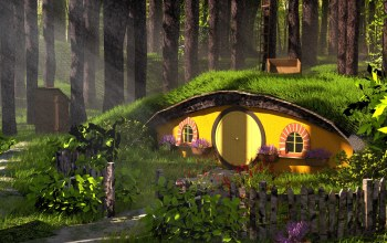 Austin Richey,средиземье,fantasy,домик,Forest Hobbit House