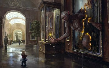 situation,people,sword,digital art,flower,trolls,museum,painting,fantasy art,weapon,showcase,fantasy,child,artwork,statue