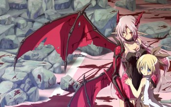 devil,powerful,rock,girl,vampire,oni,battlefield,blood,blade,wing,sword,combat