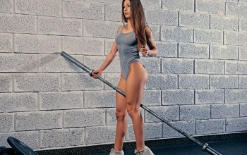 female,Weight bar,wall,pose,legs