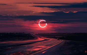 Eclipse,дорога. закат,Alena Aenami