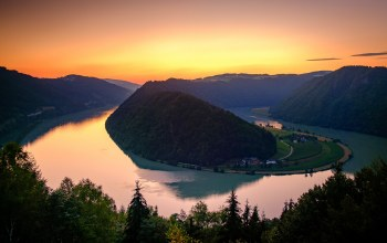 at,Sunset,river,austria,danube