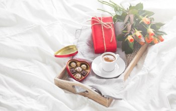 breakfast,конфеты,chocolate,Valentine`s day,roses,heart,coffee,gift