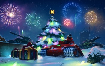 салют,подарки,tanks,гирлянда,tankix,xmas,box,елка,gifts,merry cristmas,game,Red,настроение