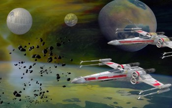 звезда смерти,Fighter Duo,x-wing starfighter,летателные аппараты,death star