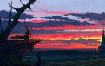 wizard,sky,artwork,sorcerer,clouds,fantasy castle,Sunset,aenami,digital art,landscape,painting,Twilight,fantasy,fantasy art